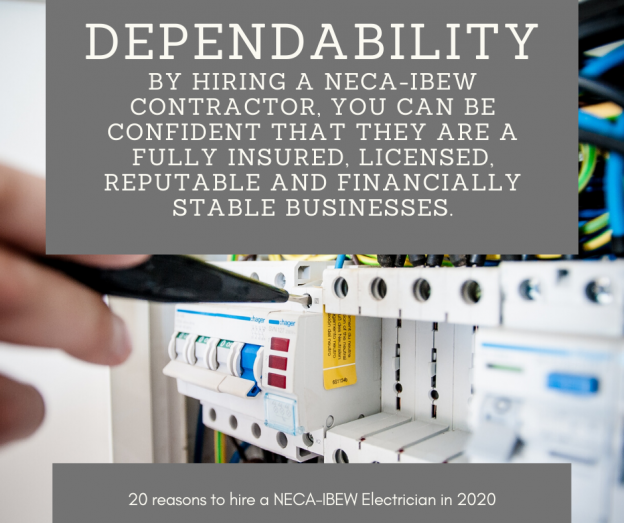 20 reasons to hire a NECA-IBEW Electrician in 2020